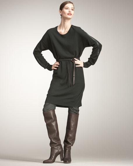 Leather-Trim Cashmere Dress