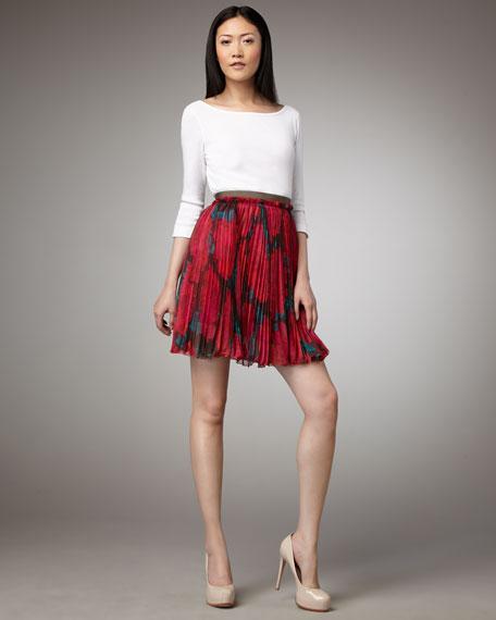 Pleated Rose-Print Skirt