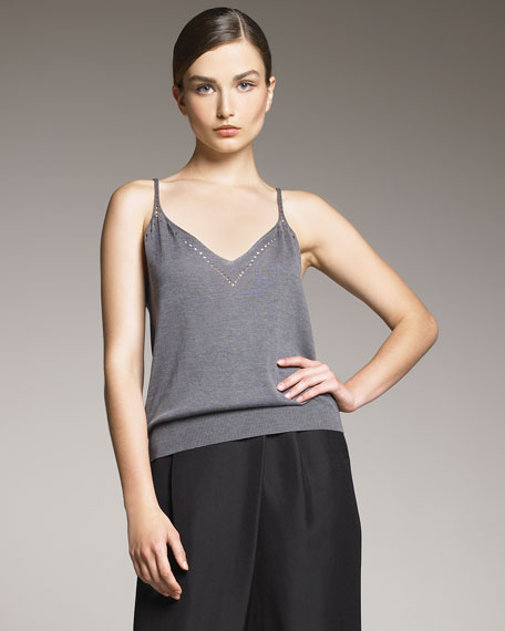 Cutwork Knit Top, Gray