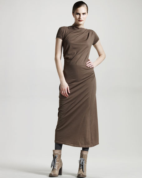 Ruched Wool Jersey Dress, Tobacco