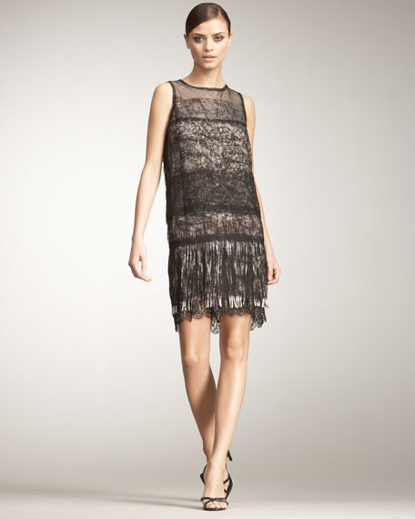 Tiered Lace & Fringe Dress