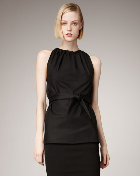 Leather-Belted Sleeveless Top