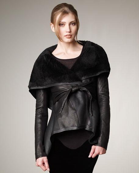 Tie-Waist Shearing-Collar Jacket