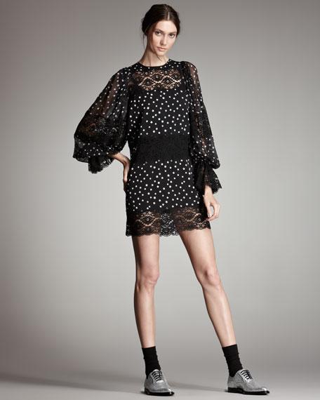 Chiffon & Lace Star-Print Dress