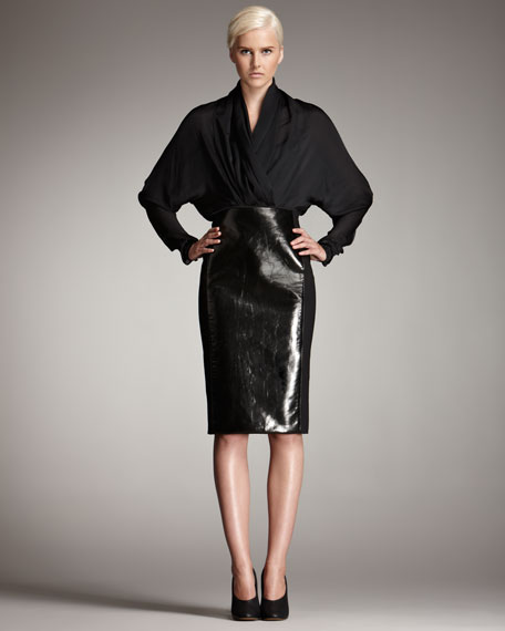 Faux Patent Leather-Front Skirt
