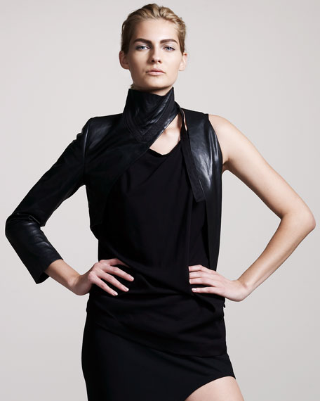 Leather One-Sleeve Top