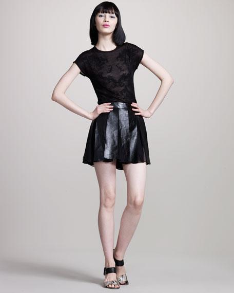 Pleated Leather-Chiffon Skirt