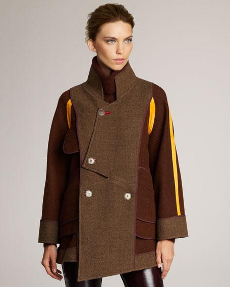Flannel Colorblock Coat