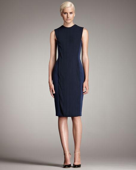 Plisse-Detailed Sheath Dress