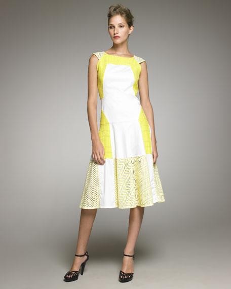 Cap-Sleeve Eyelet Colorblock Dress