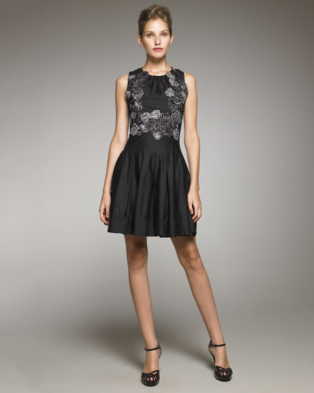 Rose-Embroidered A-Line Dress