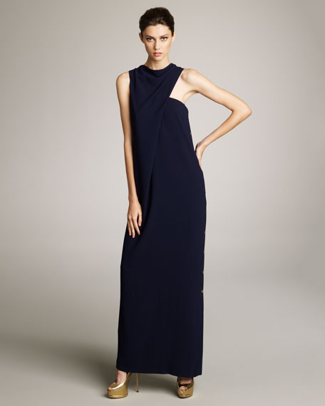 Buttoned Draped Gown