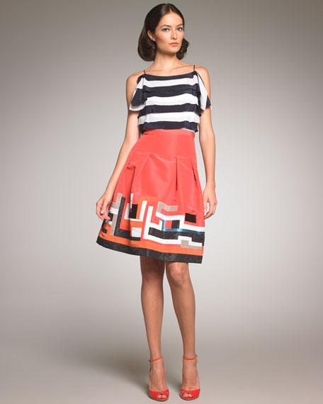 Embroidered Taffeta Skirt