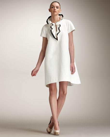 Contrast Ruffle Collar Dress