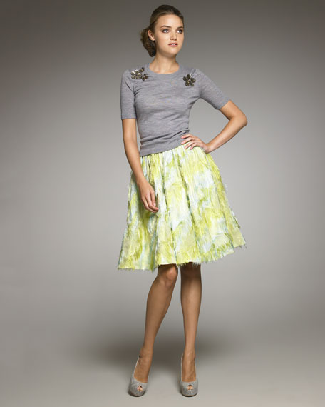 Thread Cut Silk Skirt