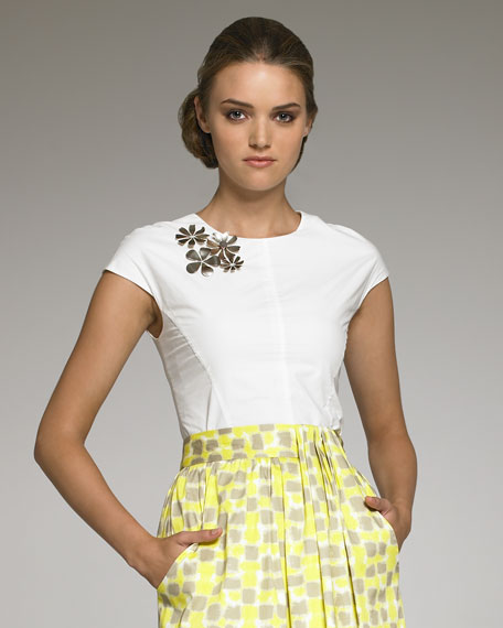 Floral Brooch-Detailed Blouse