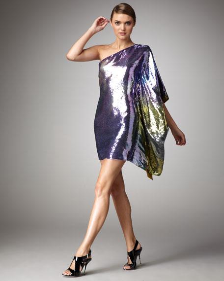 One-Shoulder Sequined Dress
