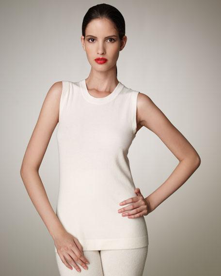 Sleeveless Cashmere Top, Ivory