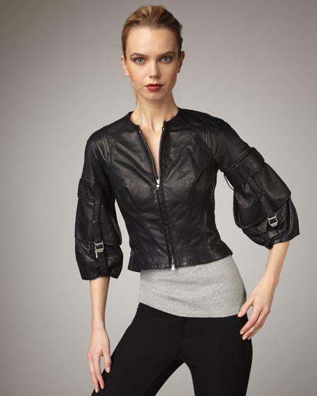Lantern-Sleeve Leather Jacket