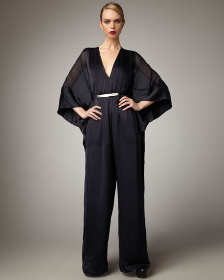 Satin Cape-Sleeve Jumpsuit