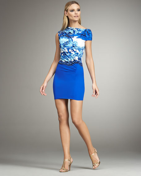 Asymmetric-Neck Ruched Mini Dress