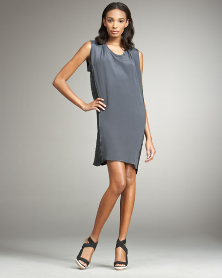 Side-Sequined Draped Dress