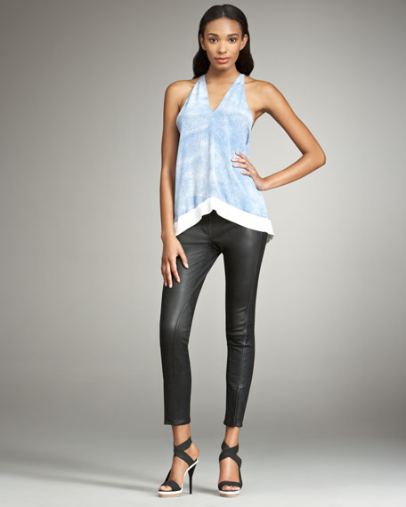 Seamed Leather Pants