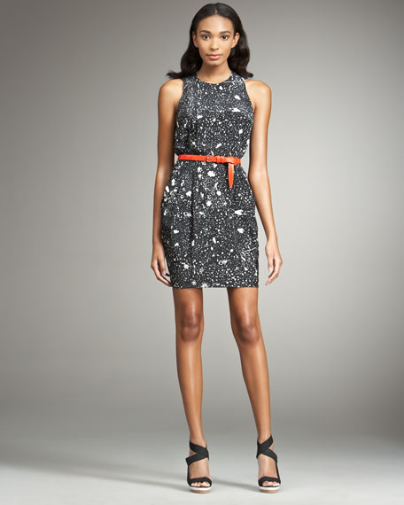 Belted Splatter-Print Dress