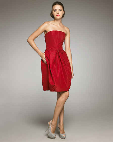 Strapless Silk Faille Dress
