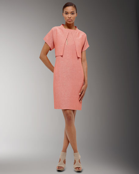 Asymmetric-Zip Sheath Dress