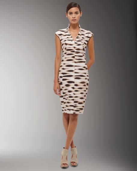 High-Collar Cap-Sleeve Dress