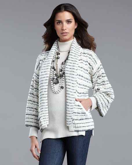Striped Cable-Knit Cardigan