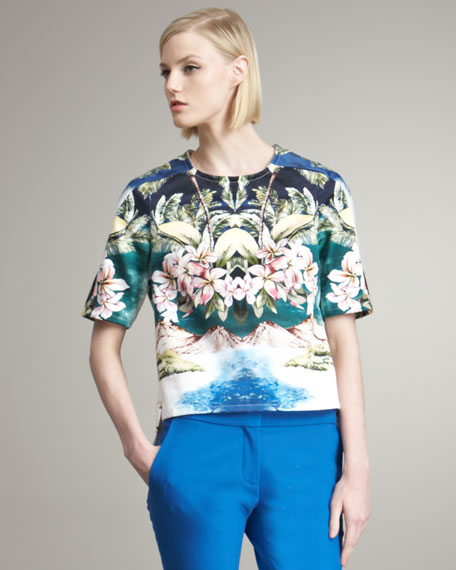 Tropical-Print Blouse Jacket