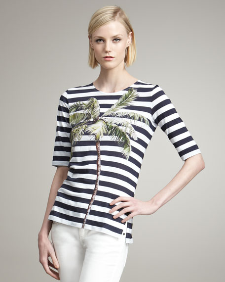 Palm-Graphic Striped Top