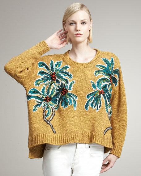 Palm-Embroidered Sweater