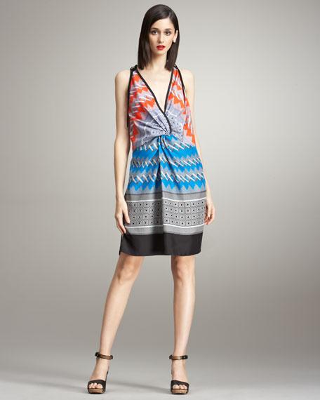 Deep V-Neck Printed Silk Dress