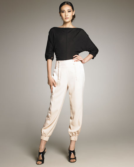 Silk Pants With Button-Waist Detail