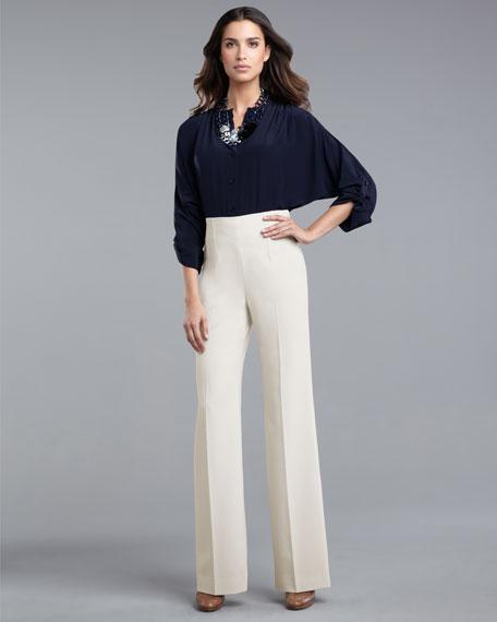 High-Waist Marocain Pants