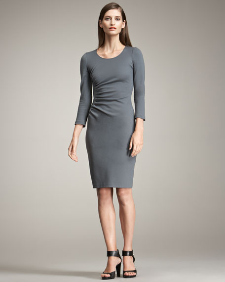 Armani Collezioni Side-Ruched Bracelet-Sleeve Dress