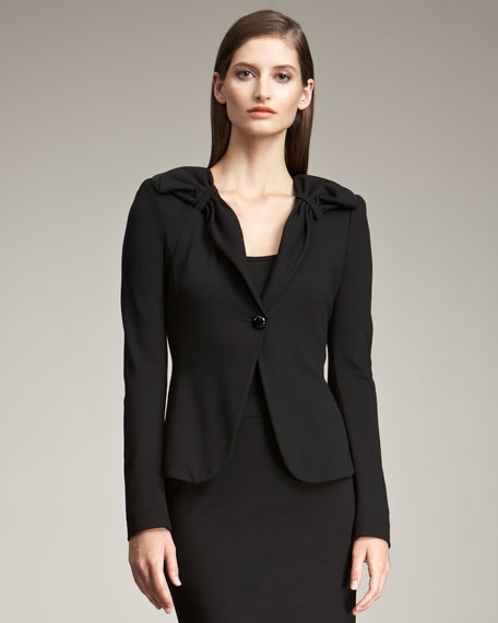 Gathered-Shoulder Blazer