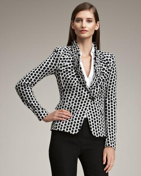 Pleated-Lapel Dot Print Jacket