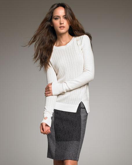 Tweed Colorblock Pencil Skirt