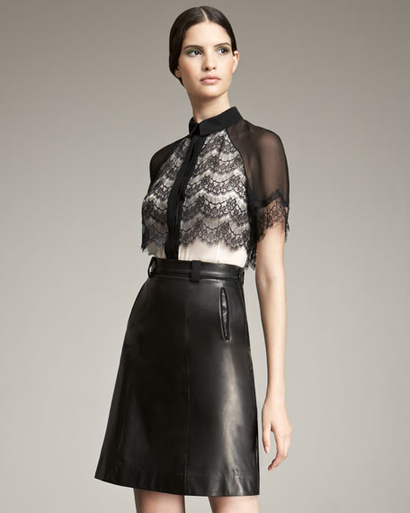 Jason Wu A-line Leather Skirt