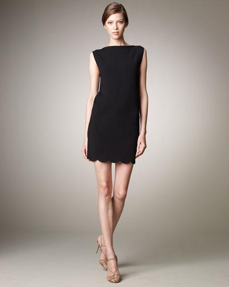 Knit Dress with Scallop Hem