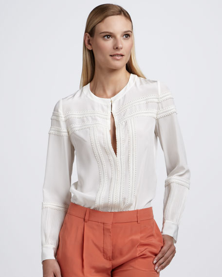 Embroidered-Bib Blouse