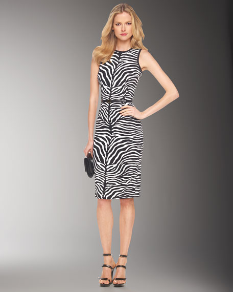 Zebra-Print Sheath Dress