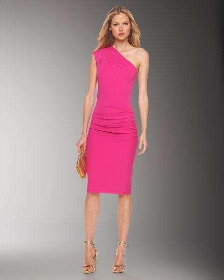 Matte Jersey One-Shoulder Dress, Fuchsia