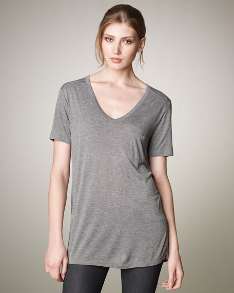 V-Neck Pocket Tee, Heather Gray