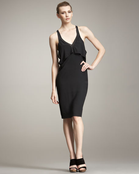 Sheer-Strap Silk Tank Dress