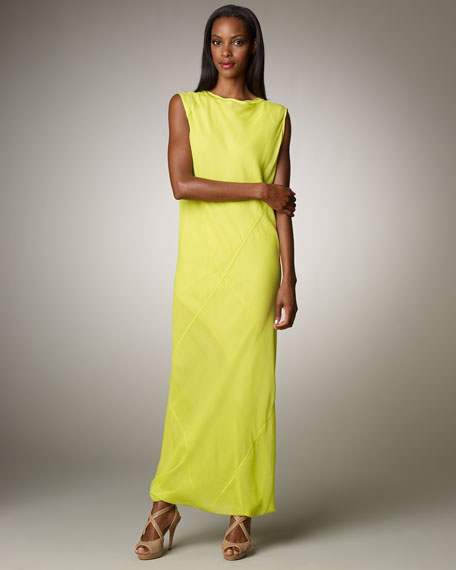 Bias-Seamed Chiffon Maxi Dress